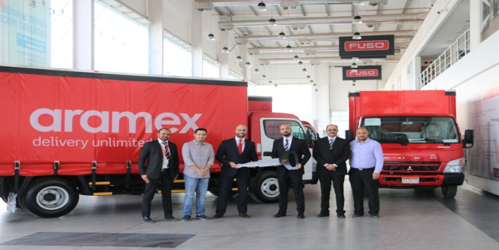 ZAYANI MOTORS DELIVERS ARAMEX 3 CANTER TRUCKS